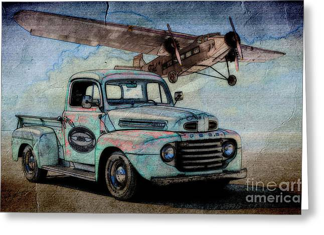 Ford Trimotor Greeting Cards - 1950 Ford Pickup and Ford TriMotor  Greeting Card by Dave Koontz