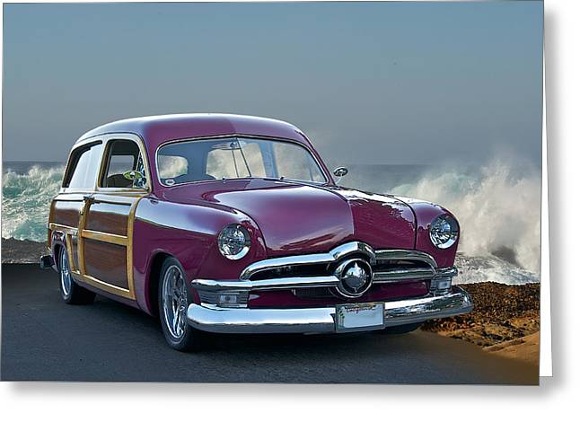 Woody Wagon Greeting Cards - 1950 Ford Surfn Wagon II Greeting Card by Dave Koontz