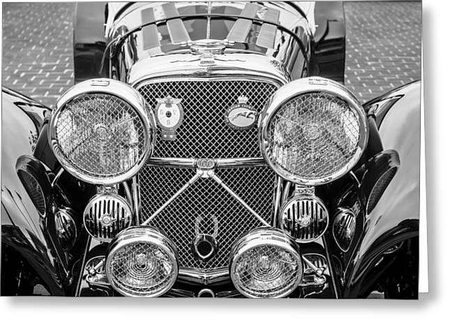 Roadster Grill Greeting Cards - 1950 Jaguar Xk120 Roadster Grille -0260bw Greeting Card by Jill Reger