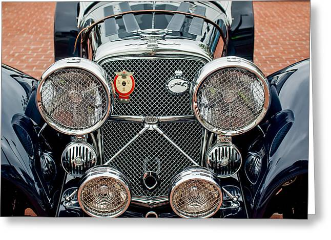 Roadster Grill Greeting Cards - 1950 Jaguar XK120 Roadster Grille Greeting Card by Jill Reger