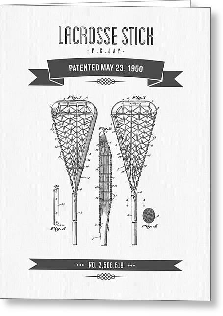 League Mixed Media Greeting Cards - 1950 Lacrosse Stick Patent Drawing - Retro Gray Greeting Card by Aged Pixel