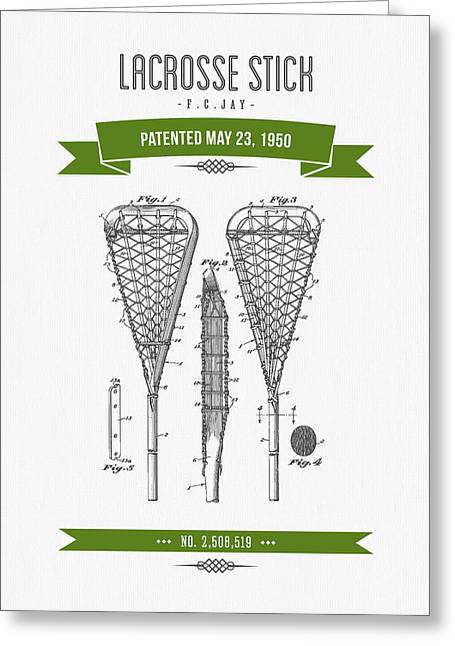 League Mixed Media Greeting Cards - 1950 Lacrosse Stick Patent Drawing - Retro Green Greeting Card by Aged Pixel