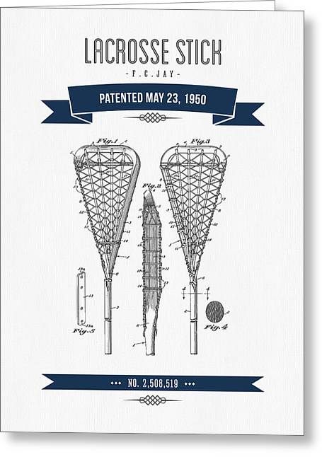 Lacrosse Greeting Cards - 1950 Lacrosse Stick Patent Drawing - Retro Navy Blue Greeting Card by Aged Pixel