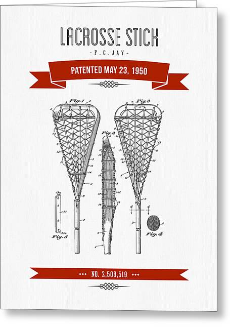 League Mixed Media Greeting Cards - 1950 Lacrosse Stick Patent Drawing - Retro Red Greeting Card by Aged Pixel