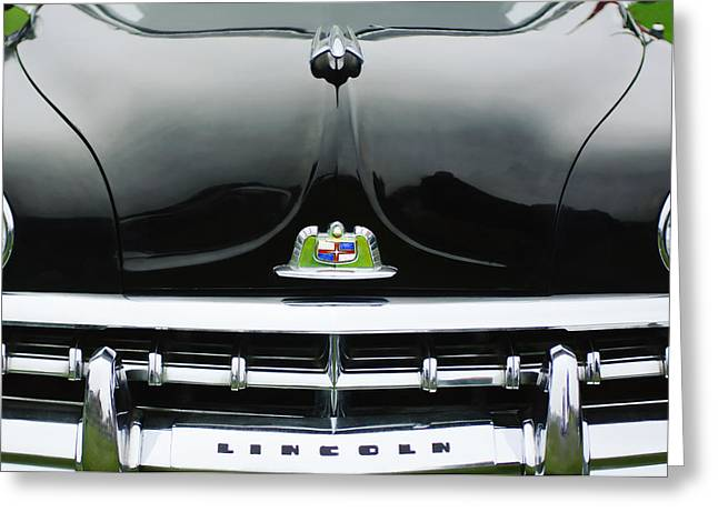 Limousine Greeting Cards - 1950 Lincoln Cosmopolitan Henney Limousine Grille Emblem - Hood Ornament Greeting Card by Jill Reger