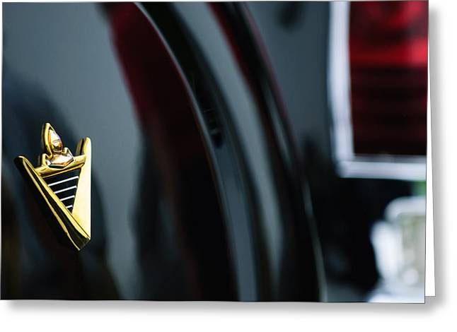 Limousine Greeting Cards - 1950 Lincoln Cosmopolitan Henney Limousine Rear Emblem Greeting Card by Jill Reger