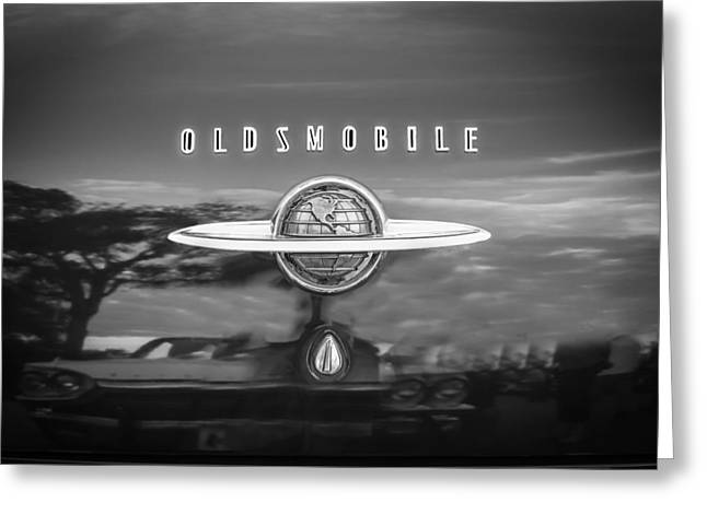 Kustom Greeting Cards - 1950 Oldsmobile 88 Futurmatic Coupe BW   Greeting Card by Rich Franco