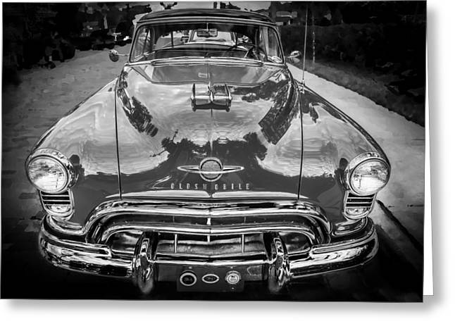 Bodywork Greeting Cards - 1950 Oldsmobile 88 Futurmatic Coupe BW Greeting Card by Rich Franco