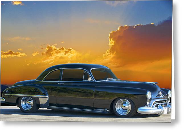 Slam Greeting Cards - 1950 Oldsmobile Coupe Greeting Card by Dave Koontz