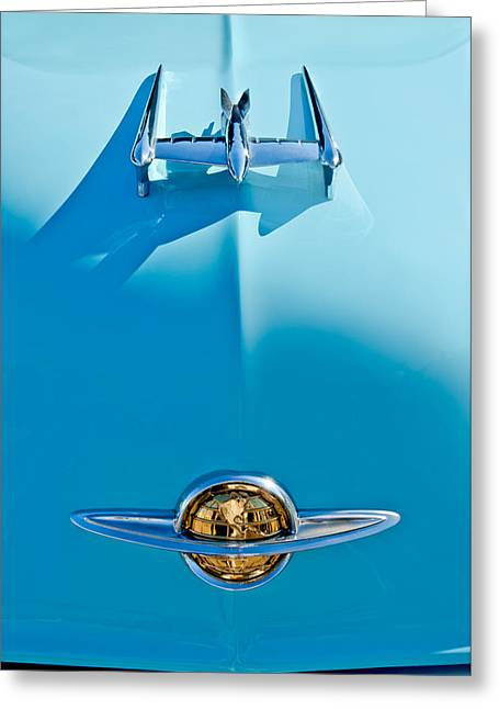 Vintage Hood Ornament Greeting Cards - 1950 Oldsmobile Hood Ornament Greeting Card by Jill Reger