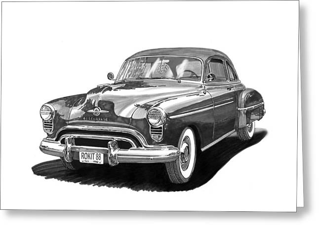 Note Cards Drawings Greeting Cards - 1950 Oldsmobile Rocket 88 Greeting Card by Jack Pumphrey