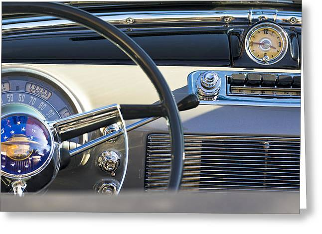 Car Part Greeting Cards - 1950 Oldsmobile Rocket 88 Steering Wheel 3 Greeting Card by Jill Reger