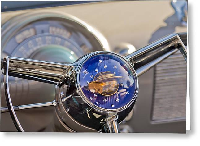 Steering Greeting Cards - 1950 Oldsmobile Rocket 88 Steering Wheel Greeting Card by Jill Reger