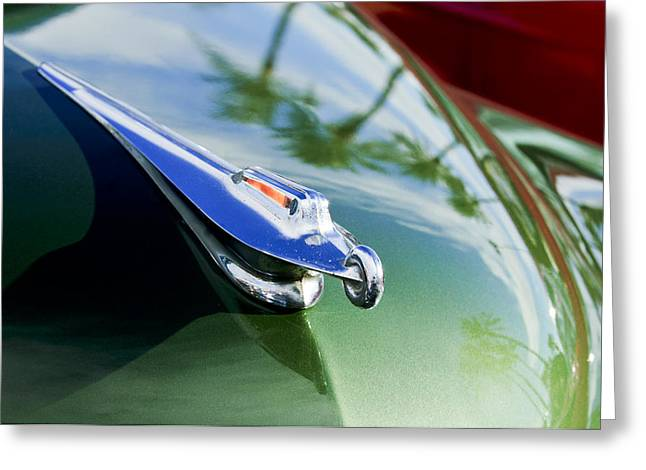 Collector Hood Ornament Greeting Cards - 1950 Packard Hood Ornament Greeting Card by Jill Reger