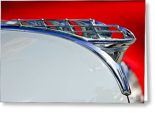 Vintage Hood Ornament Greeting Cards - 1950 Plymouth Hood Ornament 3 Greeting Card by Jill Reger