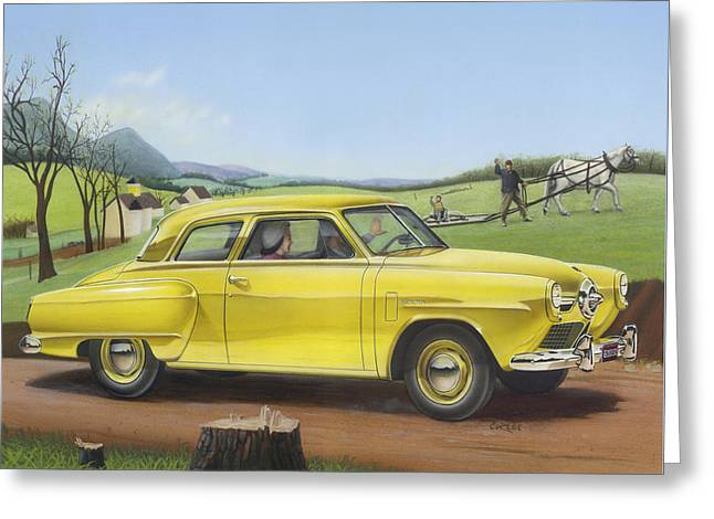 Historical Images Paintings Greeting Cards - 1950 Studebaker Champion - Square Format Image Picture Greeting Card by Walt Curlee