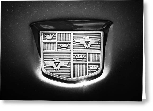 Black And White Photos Greeting Cards - 1950 Studebaker Champion Logo -0623bw Greeting Card by Jill Reger