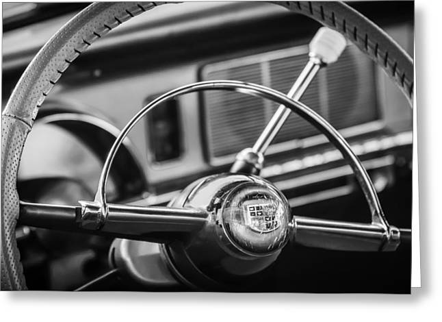 Black And White Photos Greeting Cards - 1950 Studebaker Champion Steering Wheel -1326bw Greeting Card by Jill Reger