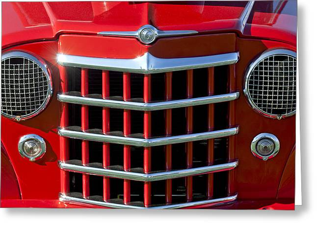 Willys Greeting Cards - 1950 Willys Jeepster Gtille Greeting Card by Jill Reger