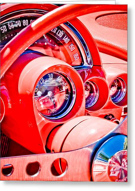 Phil Motography Clark Greeting Cards - 1950s Corvette Greeting Card by Phil