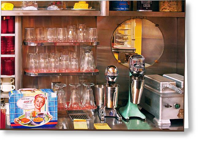 1950's - Diner - A 1950's Diner Greeting Card by Mike Savad