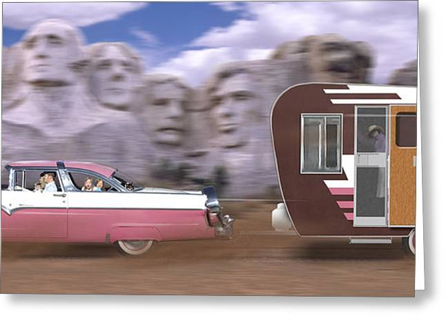 Dirt Digital Art Greeting Cards - 1950s Family Vacation Panoramic Greeting Card by Mike McGlothlen