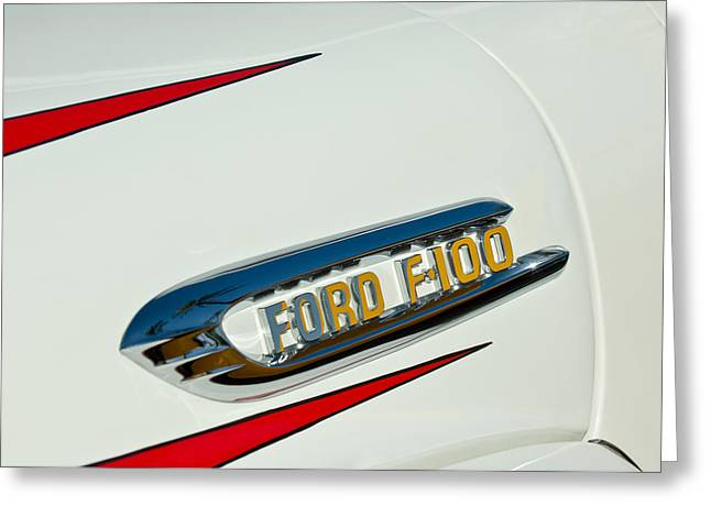 F-100 Fordomatic Truck Greeting Cards - 1950s Ford F-100 Fordomatic Pickup Truck Emblem Greeting Card by Jill Reger