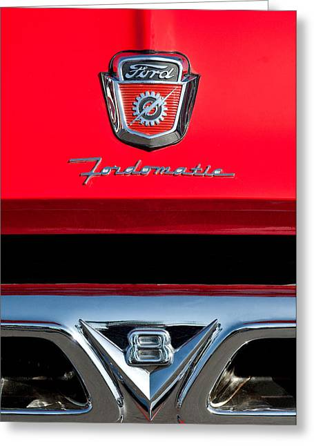 Classic Pickup Greeting Cards - 1950s Ford F-100 Pickup Truck Grille Emblems Greeting Card by Jill Reger
