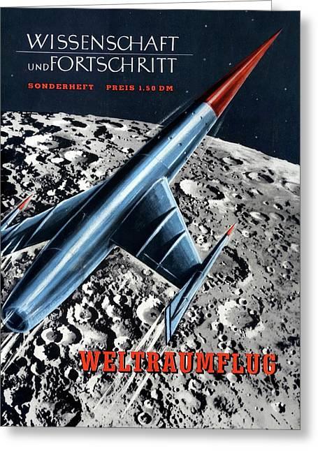 1950s Magazine On Spaceflight Greeting Card by Detlev Van Ravenswaay
