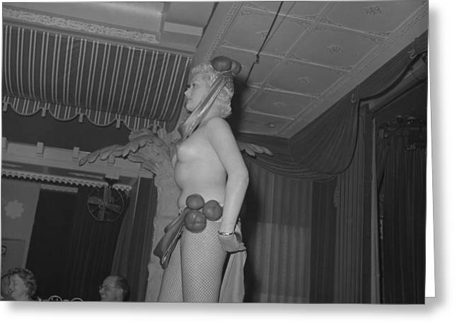 Nake Greeting Cards - 1950s Nude Club Dancer Greeting Card by Vintage