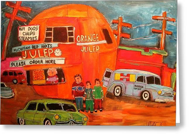 1950's Orange Julep Montreal Memories Greeting Card by Michael Litvack