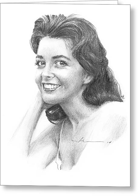 Starlet Drawings Greeting Cards - 1950s Starlet Pencil Portrait Greeting Card by Mike Theuer