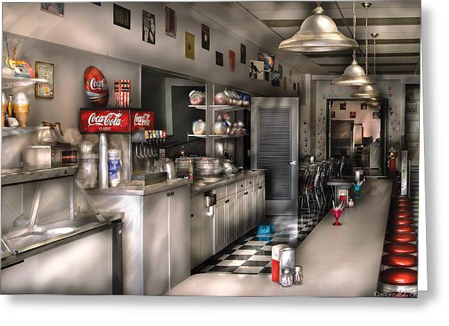 Msavad Greeting Cards - 1950s - The Soda Fountain Greeting Card by Mike Savad