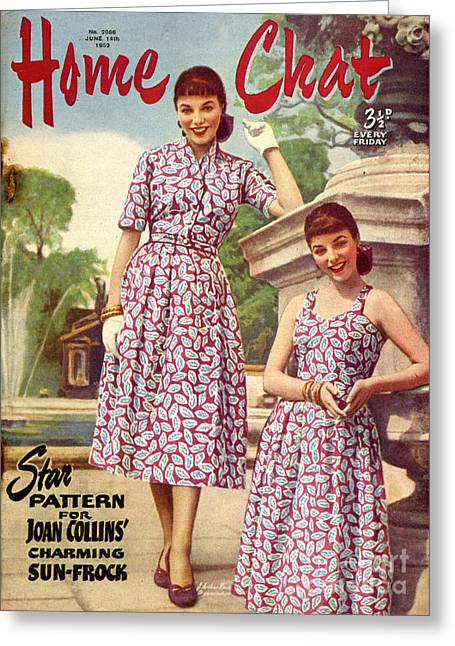 Dress Patterns Greeting Cards - 1950s Uk Home Chat Magazine Cover Greeting Card by The Advertising Archives
