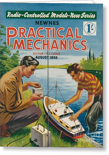 1955 Drawings Greeting Cards - 1950s Uk Practical Mechanics Magazine Greeting Card by The Advertising Archives