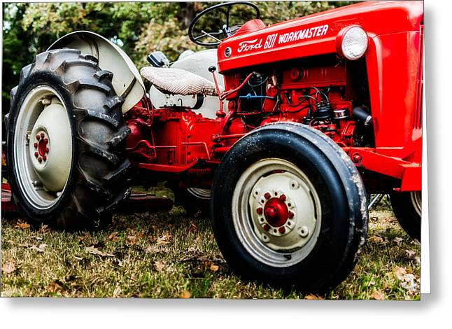 Tennessee Farm Greeting Cards - 1950s-Vintage Ford 601 Workmaster Tractor Greeting Card by Jon Woodhams