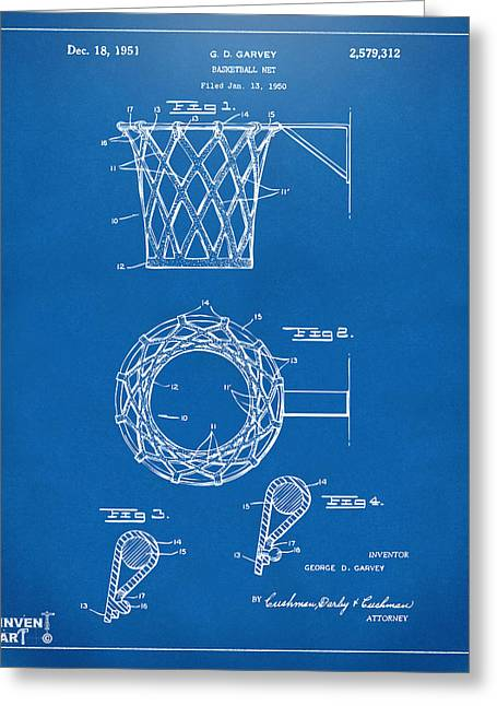 Ball Room Greeting Cards - 1951 Basketball Net Patent Artwork - Blueprint Greeting Card by Nikki Marie Smith