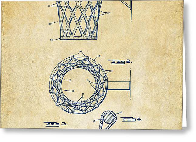 1951 Basketball Net Patent Artwork - Vintage Greeting Card by Nikki Marie Smith