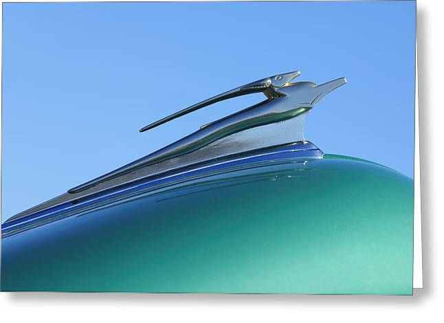 1951 Greeting Cards - 1951 Chevrolet Deluxe Hood Ornament Greeting Card by Jill Reger