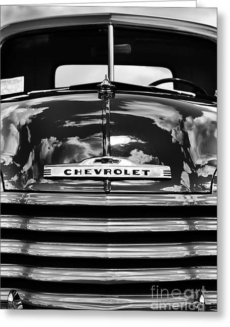 Front End Greeting Cards - 1951 Chevrolet Pickup Monochrome Greeting Card by Tim Gainey