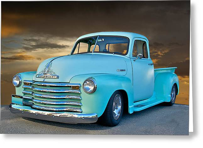 Slam Greeting Cards - 1951 Chevy Pick Up Truck Greeting Card by Dave Koontz