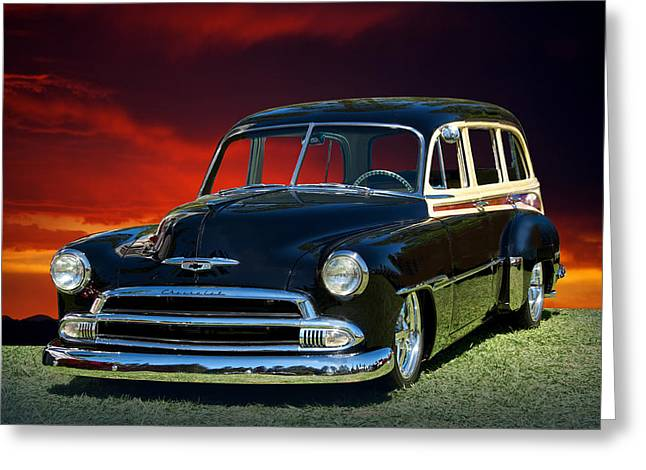 Slam Photographs Greeting Cards - 1951 Chevy Woody Wagon Greeting Card by Dave Koontz