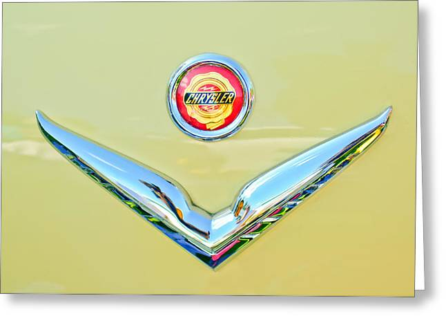 1951 Greeting Cards - 1951 Chrysler New Yorker Convertible Emblem Greeting Card by Jill Reger