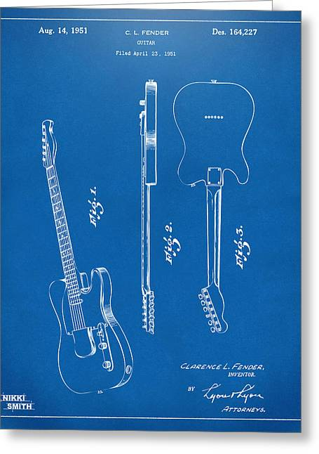 Guitar Man Greeting Cards - 1951 Fender Electric Guitar Patent Artwork - Blueprint Greeting Card by Nikki Marie Smith