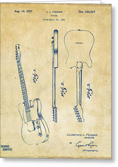 1951 Fender Electric Guitar Patent Artwork - Vintage Greeting Card by Nikki Marie Smith