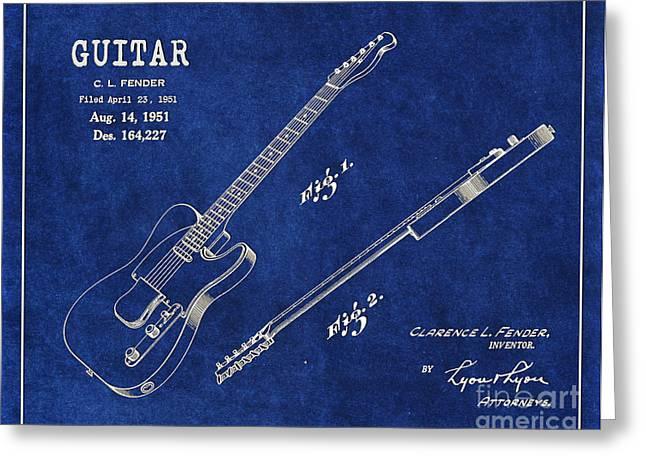 1951 Digital Art Greeting Cards - 1951 Fender Telecaster Guitar Patent Art 1 Greeting Card by Nishanth Gopinathan