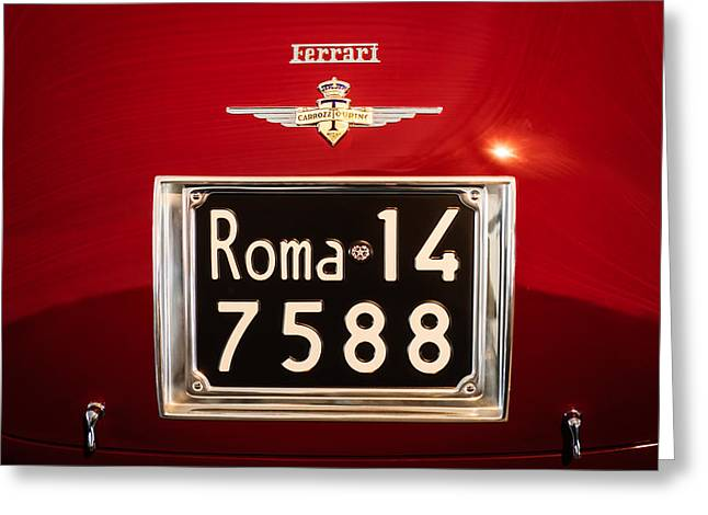 1951 Photographs Greeting Cards - 1951 Ferrari 212 Export Berlinetta Rear Emblem - License Plate Greeting Card by Jill Reger