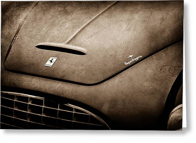1951 Greeting Cards - 1951 Ferrari 212 Export Touring Berlinetta Hood Emblem Greeting Card by Jill Reger