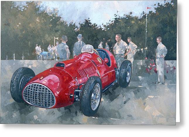 Car Racer Greeting Cards - 1951 Ferrari Oil On Canvas Greeting Card by Peter Miller