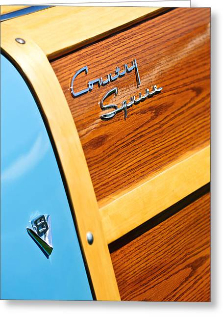 1951 Greeting Cards - 1951 Ford Country Squire Woody Wagon Side Emblems -3369c Greeting Card by Jill Reger